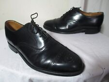 GRENSON MENS SHINY BROGUE BLK LEATHER CAP TOE OXFORDS 8½ G US 10 MADE IN ENGLAND