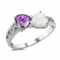 USA Seller Hearts Ring Sterling Silver 925 White Lab Opal & Amethyst CZ Size 8