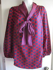 Mud Pie NWT Red Navy Belle Bow Chain Link Tie Neck Blouse Sz S
