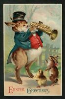 Humanized Dressed Bunny Rabbit~ Plays Horn~Antique~Easter Postcard-Feinberg-b50