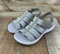 Clarks Cloud Steppers Women's Gray Stretch Strap Sandals Size 9 US 40 EUR