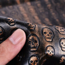 A4 Vintage Skull Pattern PU Leather Fabric Synthetic Leather DIY Material Black
