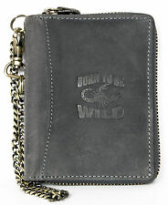 Grey zip-around genuine leather wallet Born to be Wild with scorpion with chain