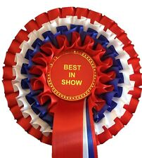 BEST IN SHOW ROSETTE (4 Tier Red/White/Blue/Red)  *FREE POSTAGE*