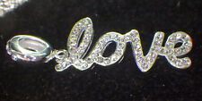 "UNBRANDD 925 STERLING SILVER DANGLE CLEAR CRYSTAL SCRIPT WORD ""LOVE"" CHARM BEAD"