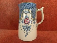 "F WINKLE WHIELDON Blue & Rose CLYDE 6.75"" WATER /JUICE JUG c1925 - FREE UK POST"