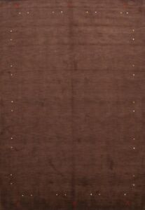 Contemporary MOCHA BROWN 9x12 Gabbeh Indian Oriental Area Rug Hand-Knotted Wool