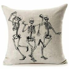 Cráneo de Halloween fundas de almohada, regalos de Halloween Decoración del Hogar Lino Sofá Cobertor P O9T7