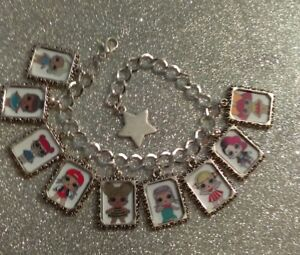 Silver Plated Charm Bracelet LOL L.O.L Doll Queen Bee Teachers Pet Diva