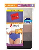 8 Hanes Womens Cool Comfort Microfiber Brief Panties Sizes 6-10 ASSORTED COLORS