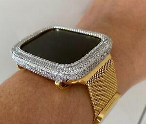 EMJ Bling Baguette Apple Watch Gold Bezel Case Face Cover Series 4/5/6/SE 40mm