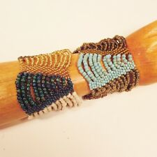 Set of 2 Turquoise Gold Multi Strand Handmade Swag Stretch Seed Bead Bracelets