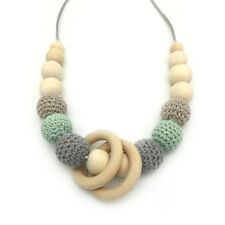 Natural Wooden Ring Beads Crochet Wood Teething Necklace Baby Teeth Care Jewelry