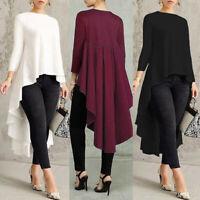 Women Long Sleeve Asymmetrical Waterfall Shirts Tops High Low Blouse Plus Size