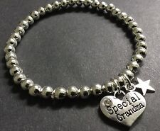 Grandma Nana bijoux stretch beaded bracelet with A Love Heart And lucky star