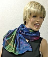 "Multi Silk Blend Gathered Stripe 20X72"" Scarf Bandana"
