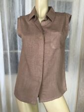 SIZE 8 NEW CATCHLOVE COLLECTIVE TAN SLEEVELESS LINEN SHIRT BLOUSE TOP RRP$135 🍨