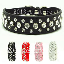 New Dog Collars pet choker cat necklace pu Leather Bling Rhinestone puppy collar