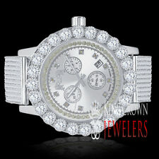 Real Diamonds Mens Stainless Steel White Gold Tone Chronograph Watch Solitaire