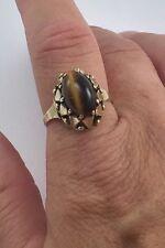 Antique 8kt Gold Ladies Tigers Eye Ring, FS 10.5 Olde Makers Mark