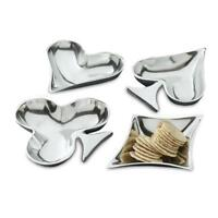 "Poker Bridge Party Set 8 NIB Aluminum Playing Card Suit Candy Nut Dish 8"" IHI"