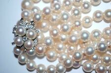 14KT GOLD DIAMOND HAND MADE CATCH 2 STRAND 8-10MM PEARL NECKLACE  WHITE LUSTROUS