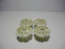 4X MAGNOVAL 9 PIN SOCKET B9D PCB MOUNT NEW OLD STOCK SILVER PLATED