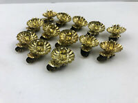 13 Vintage Christmas Tree Brass Candle Clips Pine Cone Base Clip On Metal