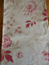 Antique French Peony Floral Cotton Fabric ~ Raspberry Red Pink Tan
