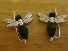 Pair Black Sterling Silver Filled Angels Ear Vines, Sweeps, Pins Earrings