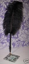 Ostrich Feather Pen w/*Damask Base~Guest Pen~(Add Your Pic) Asst. Feather Colors