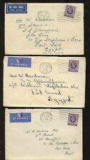 Egipto 1936 De Gb... 3 airmails mismo día 3d solo para enviar glenaffaric Puerto Said