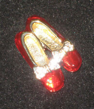 Ruby Slippers Pin Wizard of Oz Crystal Accents Bow Red Shoes Brooch New