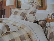 Cotton Queen Size 7PC Beige& Brown Plaid Duvet Cover Bedding Set Tan Beige