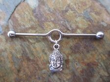 """Silver Buddha on Looped Industrial Barbell Cartilage Piercing Tragus 1.5"""" 38mm"""
