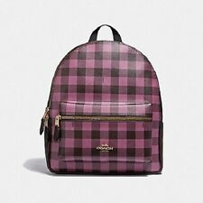 New Authentic Coach F38949 Medium Charlie Backpack in Gingham Print Purple