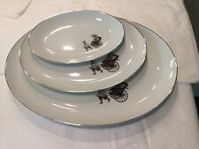 "Arita Japan ""Rikisha"" or Hakusan # 9501 set of three oval platters"