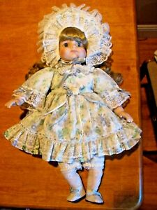 """VINTAGE 18"""" CLOTH AND BISQUE FLORAL LACE DRESS AND HAT CRYING DOLL WITH TEARS"""