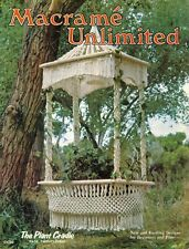 Vtg Macrame Unlimited Table Plant Hanger Greenhouse Lamp Jewelry Runner Book