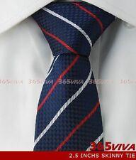 "Blue Stripe Skinny Slim Narrow Woven Silk 2.5"" Men Necktie Wedding Tie LT006"