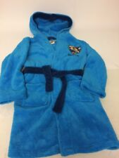 Fireman Sam Boys Blue Soft Fleece Dressing Gown Robe Age 6-8 Years Hood Pockets