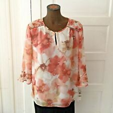 Alfred Dunner Women's Shirt Blouse Size 14 Petite Ivory Floral Semi Sheer Lined