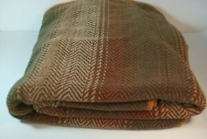 Woolrich Home Blanket Throw Hunter Green Brown Tan Stripes 61 x 50 Couch Decor