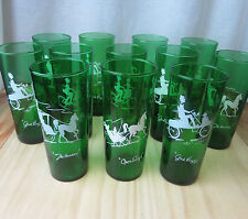 Anchor Hocking Green Gay 90's Tall Iced Tea Glasses Tumblers Set of 12