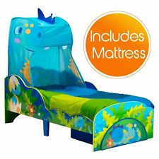 DINOSAUR TODDLER BED WITH STORAGE & CANOPY + FOAM MATTRESS