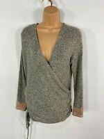 WOMENS NEXT GREY MARL SOFT WRAP GATHERED SIDE LACE CUFF SMART JUMPER TOP UK 10