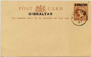 GIBRALTAR 1887 STATIONERY OVERPRINT 1/2d CARD USED TANGIER POSTMARK CTO
