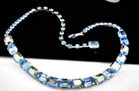 """FAB. VINTAGE 16"""" WEISS BABY BLUE AB RHINESTONES SILVER TONE CHOKER NECKLACE D22"""