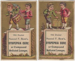 Doctor Samuel Stow's Dyspepsia Cure - Two Patent Medicine Victorian Trade Cards