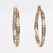 Michael Kors Gold Tone Hoop Pave Set Earrings With Dust Bag